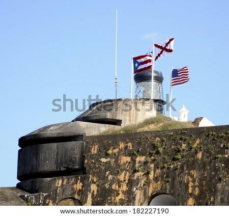 San Juan, Puerto Rico fort / Fortress Flags - stock photo