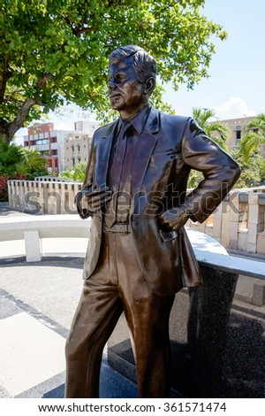 SAN JUAN, PUERTO RICO - OCTOBER 18, 2014: Statue of the president JFK of the USA in Puerto Rico