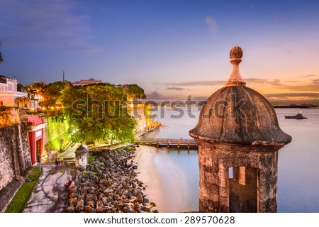 San Juan, Puerto Rico old city wall on the Caribbean Sea. - stock photo