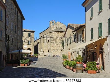 San Leo (Rimini), Italy. Medieval village. Landscape from the medieval fortress. The most beautiful small town in Italy. The unknown Italian charm, hidden and beauty.