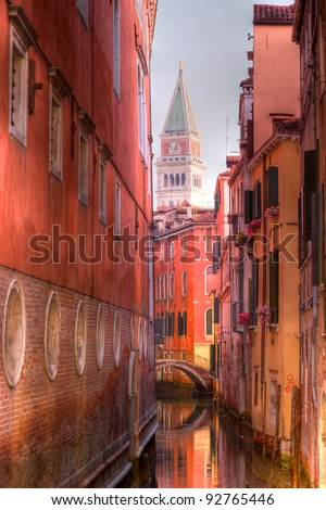 San Marco from the canals in Venice, Italy - stock photo