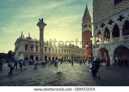 San Marco in sunset time, Venice, Italy  - stock photo