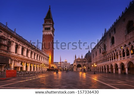 San Marco square after sunset. Venice, Italy  - stock photo