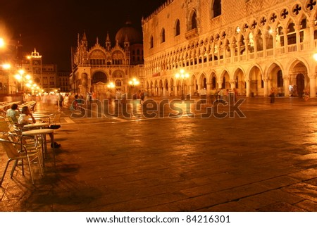 san marco square by night, venice , italy, europe - stock photo