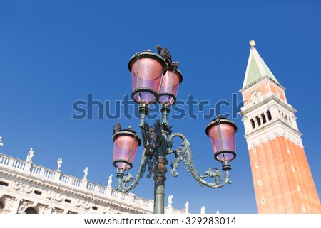 San Marco Square - Venice Italy / Doge Palace and bell tower of St. Mark in Piazza San Marco (St. Mark Square) in the city of Venezia (UNESCO world heritage site), Veneto, Italy - stock photo