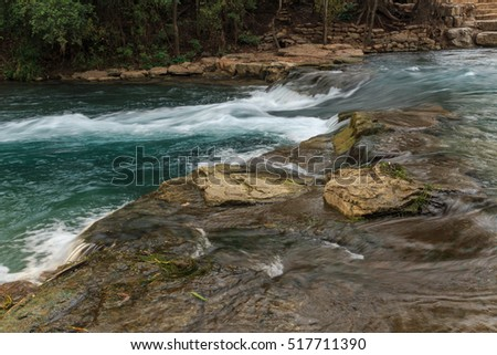 San Marcos River/ San Marcos River chute/ One of the three chutes along the San Marcos River known as Rio Vista Falls, great for tubers, canoers, kayakers and rafters, San Marcos, Texas, USA.