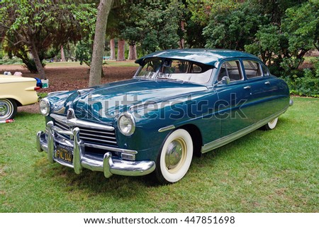 SAN MARINO/CALIFORNIA - JUNE 12, 2016: A classic American Motors 1949 Hudson parked in a park in San Marino, California USA
