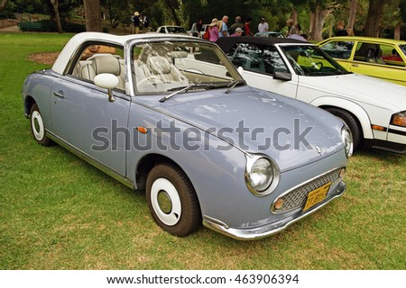 SAN MARINO/CALIFORNIA - JUNE 12, 2016: 1991 Nissan Figaro parked in a park in San Marino, California USA