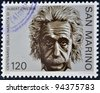 SAN MARINO - CIRCA 1979: A stamp printed in San Marino shows Albert Einstein, circa 1979 - stock photo