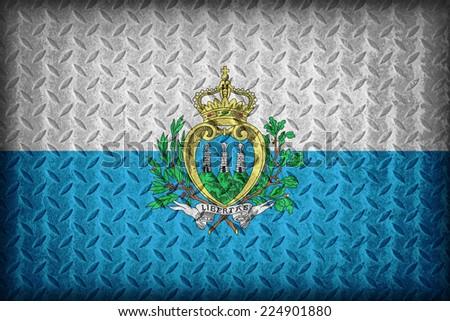 San Marino flag pattern on the diamond metal plate texture ,vintage style - stock photo