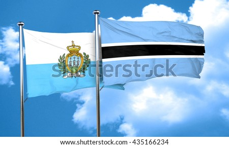 san marino flag with Botswana flag, 3D rendering