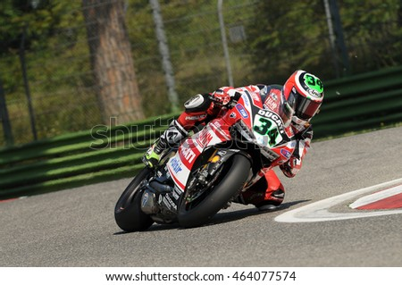 San Marino, Italy - May 14, 2014: Ducati 1199 Panigale R of Aruba.it Racing - Ducati Super Team, driven by Davide Giugliano in action during the Superbike Practice on May 10, 2014 Imola Circuit, Italy