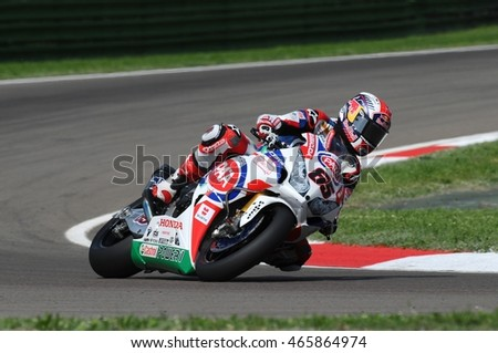San Marino - May 10: Honda CBR1000RR SP of PATA Honda World Superbike Team, driven by Jonathan Rea during the free practice at the FIM Superbike 2014 at Imola Circuit Italy
