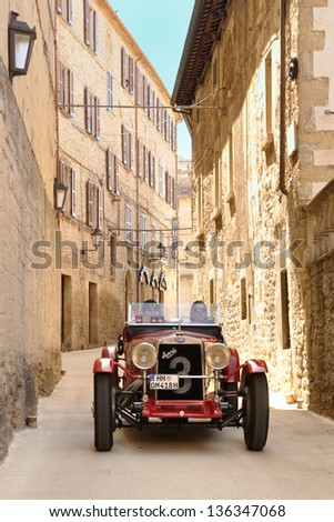 SAN MARINO RSM - MAY 18: Red 1930 OM 665 SS takes part to the 1000 Miglia 2012, on May 18, 2012 in San Marino - stock photo