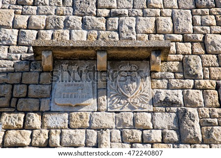 San Marino. San Marino Republic - November 06, 2015: In courtyard of fortress Guaita on Mount Titan