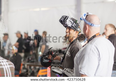 SAN MATEO, CA May 20 2016 - A drone pilot awaits his heat during the 11th Annual Bay Area Maker Faire at the San Mateo County Event Center. - stock photo