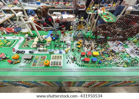 SAN MATEO, CA May 20 2016 - A Lego exhibit during the 11th annual Bay Area Maker Faire at the San Mateo County Event Center. - stock photo