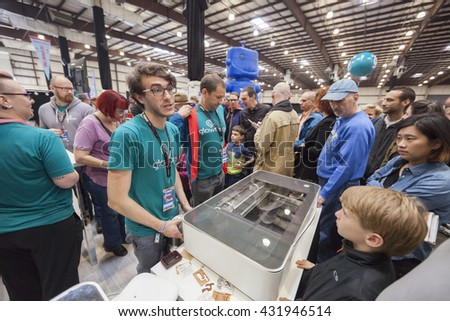 SAN MATEO, CA May 20 2016 - The Glowforge booth at the 11th annual Bay Area Maker Faire at the San Mateo County Event Center. - stock photo