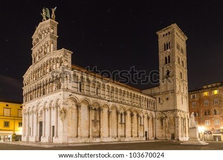 San Michele at night, Lucca, Tuscany, Italy - stock photo