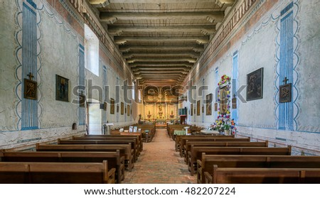 SAN MIGUEL, CALIFORNIA - JULY 29: Interior of the Old Mission San Miguel on Mission Street on July 29, 2016 in San Miguel, California