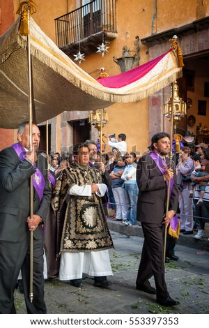 SAN MIGUEL DE ALLENDE, MEXICO - APRIL 6: Holy Week procession on Good Friday. The pageant attracts thousands of spectators along its four mile route.