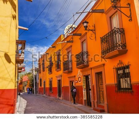 SAN MIGUEL DE ALLENDE, MEXICO - DECEMBER 27, 2014 Town Street Tourists Hotels San Miguel de Allende Mexico.  - stock photo