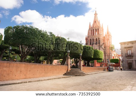 San Miguel de Allende, Mexico - October 21, 2014: La Parroquia de San Miguel Arcangel on the main plaza of San Miguel de Allende. Guanajuato State, Mexico