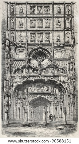San Pablo church old illustration, Valladolid. Created by Marc after photo of Clifford, published on L'Illustration, Journal Universel, Paris, 1858 - stock photo