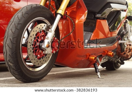 San Pablo City, Laguna, Philippines - September 12, 2015: close up of  big motorcycle front wheel, focus tyre