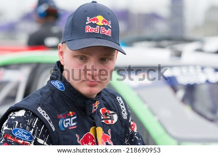 SAN PEDRO, CA - SEP 20: Joni Wiman rally driver at the Red Bull GRC Global Ralleycross in San Pedro, CA on September 20, 2014