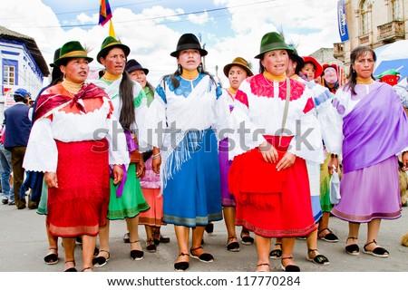 SAN PEDRO, ECUADOR - 29 JUNE : indigenous women in traditional costume, Inti Raymi festivities, 29 June 2011 SAN PEDRO, ECUADOR - stock photo