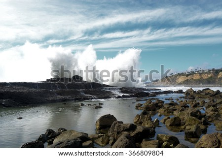 San Pedro, Southern California Tide Pools at High Tide, Waves Crashing