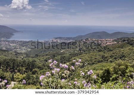 San Piero, small mountain village, Elba, Tuscany, Italy - stock photo