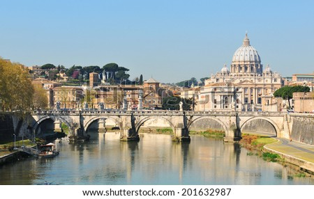 San Pietro basilica reflected in river Tiber (Rome, Italy)