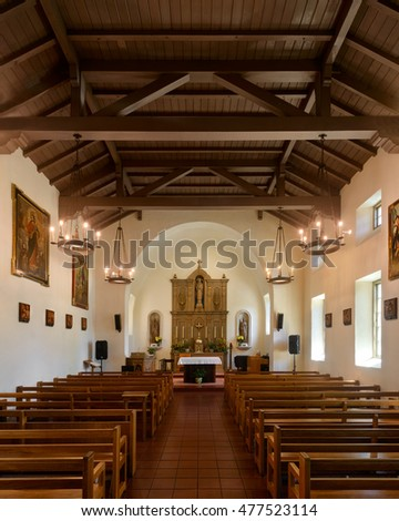SAN RAFAEL, CALIFORNIA - JULY 25: Interior of the Mission San Rafael Arcangel on 5th Avenue on July 25, 2016 in San Rafael, California
