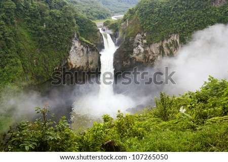 San Rafael Falls, The largest waterfall in Ecuador - stock photo