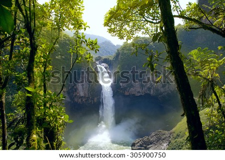 San Rafael Falls. The Largest Waterfall in Ecuador - stock photo