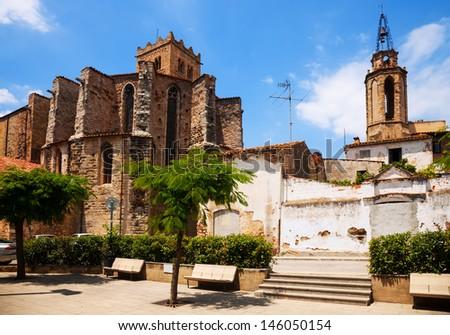 San Salvadar monastery and Santa Maria church in Breda. Catalonia, Spain - stock photo