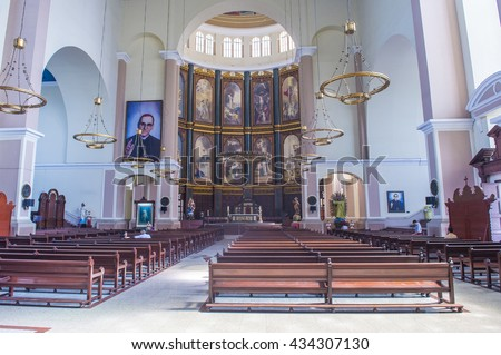 SAN SALVADOR , EL SALVADOR  - MAY 06 : The Cathedral interior in San Salvador , El Salvador on May 06 2016.  The Cathedral was completed and inaugurated on March 19, 1999 - stock photo