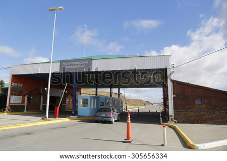 SAN SEBASTIAN, ARGENTINA - APRIL 3, 2015: Border crossing between Argentina and Chile  in Tierra del Fuego at San Sebastian, Argentina - stock photo
