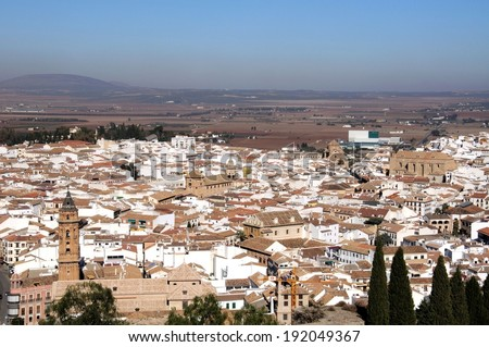 San Sebastian church tower and city rooftops, Antequera, Malaga Province, Andalucia, Spain, Western Europe.