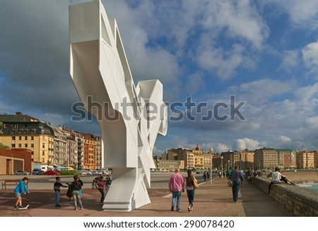 SAN SEBASTIAN or DONOSTIA, SPAIN-JUN 14: San Sebastian or Donostia is a coastal city and located on the coast of the Bay of Biscay, Spain. View to the city on 14 Jun, 2015, Spain. - stock photo