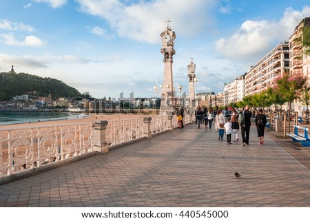 SAN SEBASTIAN, SPAIN - JUNE 19: La Concha promenade on June 19, 2016 in San Sebastian, Spain. - stock photo