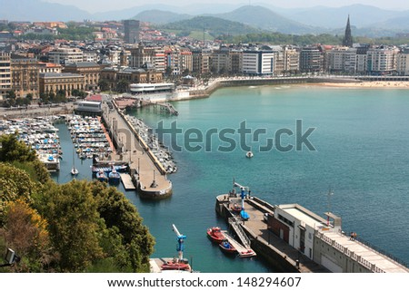 SAN SEBASTIAN, SPAIN - MAY 5: View of San Sebastian from Mount Urgull, May 5, 2013 in San Sebastian, Spain. San Sebastian is situated on the Bay of Biscay.