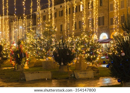 SAN SEVERINO MARCHE, ITALY - DECEMBER 18, 2015. The main square of San Severino Marche at christmas time.