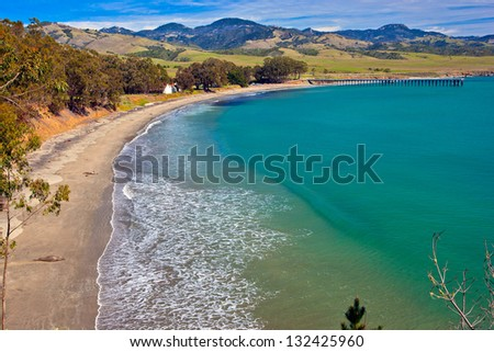 San Simeon Bay, Central California - stock photo