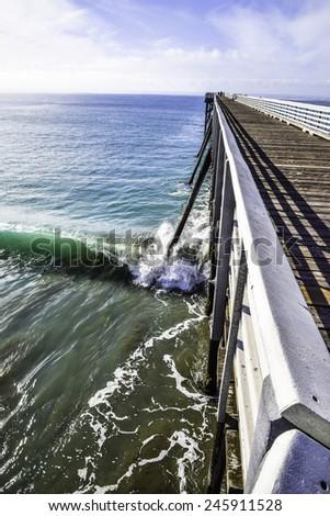 San Simeon Pier, on the California Central Coast, near Cambria, CA.  - stock photo