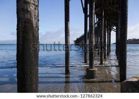 San Simoen pier from bellow in southern California - stock photo