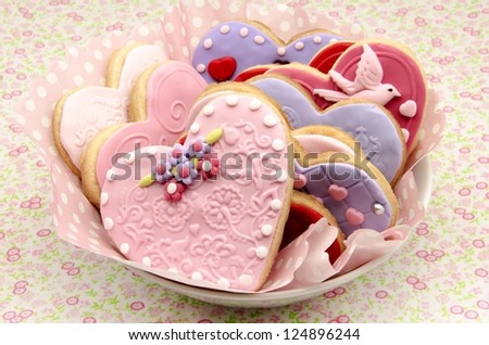 San Valetin cookies decorated with heart shape - stock photo