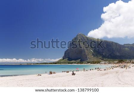 San Vito lo Capo beach and Monte Monaco in background, north-western Sicily. - stock photo